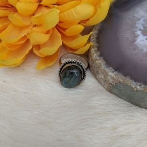 Rainbow Labradorite Sterling Silver Ring Size 8